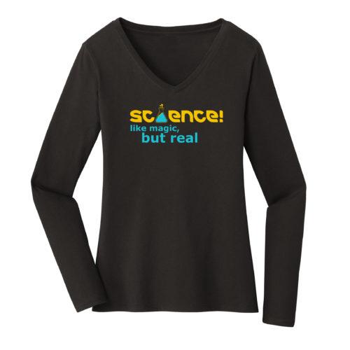 Women's Black Long Sleeve Science T-Shirt