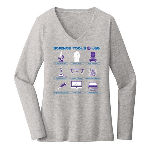 Women's Biology Labware Gray Long Sleeve Science T-Shirt