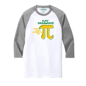 Men's Mathematics White Gray 3/4 Length Sleeve Tshirt