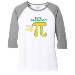Women's Mathematics White Gray 3/4 Length Sleeve Tshirt