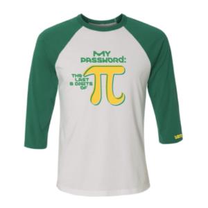 Unisex Mathematics White Kelley Green 3/4 Length Sleeve Tshirt