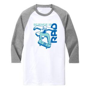 Men's Science White Gray 3/4 Length Sleeve T-shirt
